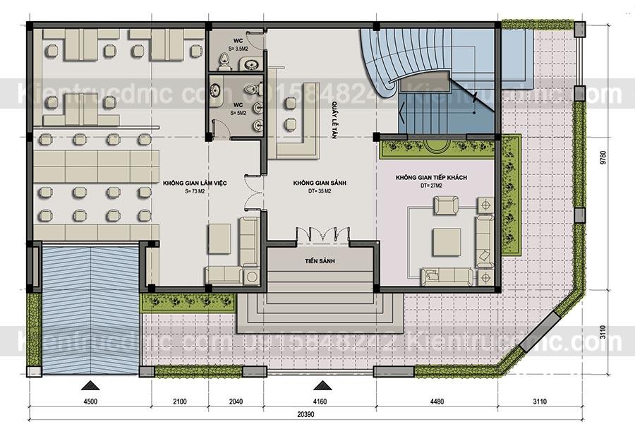 Thiết kế trụ sở văn phòng lam f việc Phú Mỹ Thành.