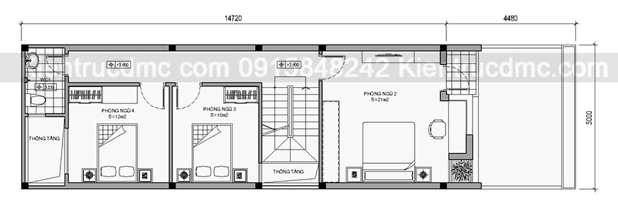 Thiết kế nhà phố trên đất 96m2