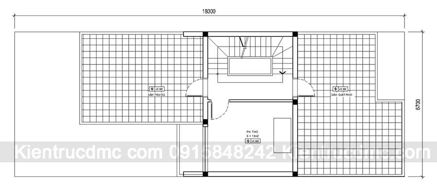Thiết kế nhà phố 3 tầng đẹp kết hợp kinh doanh - Mặt bằng tầng 3
