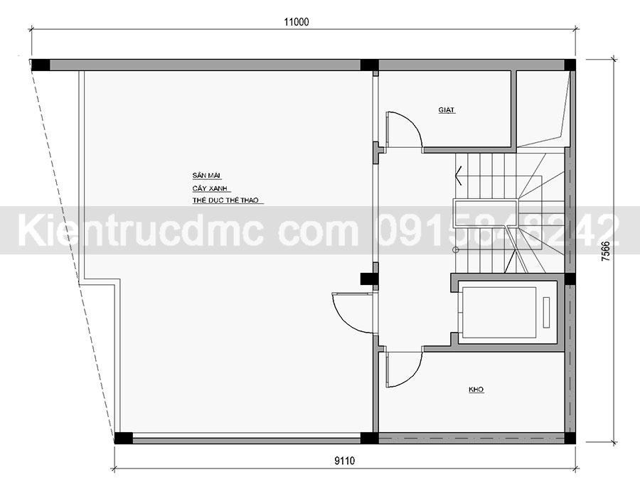 Thiết kế nhà phố 7 tầng mặt tiền chéo: