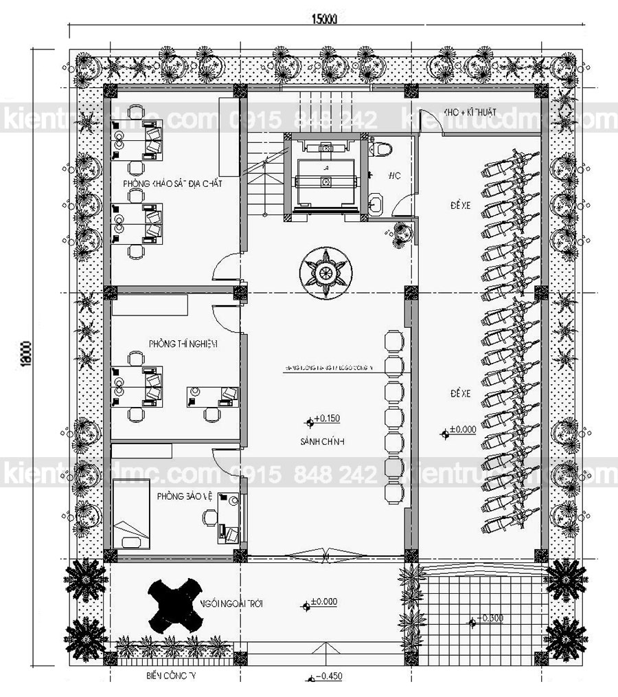Thiết kế trụ sở văn phòng làm việc 5 tầng