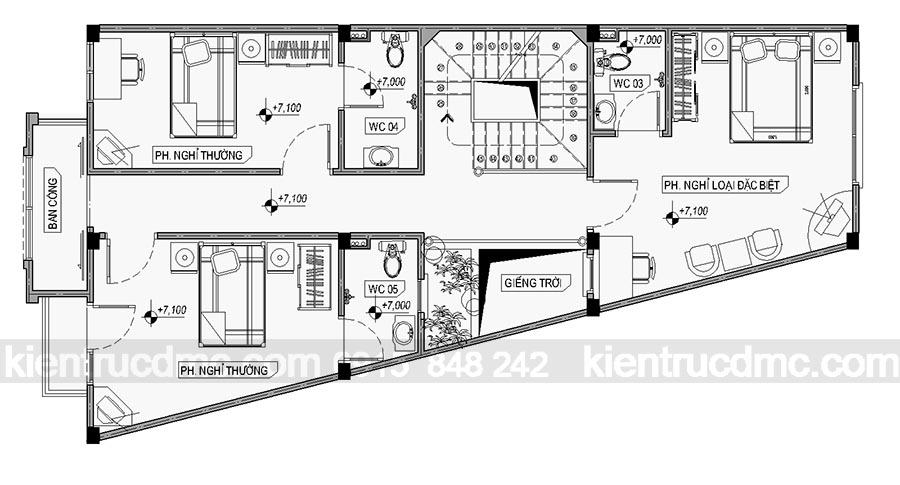 Thiết kế nhà nghỉ đông anh - thiết kế nhà phố 5 tầng