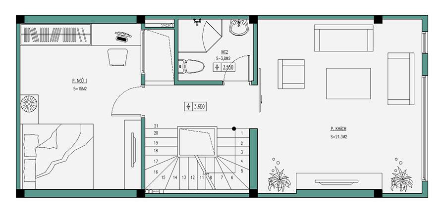 Thiết kế nhà phố 4 tầng diện tích 50m2