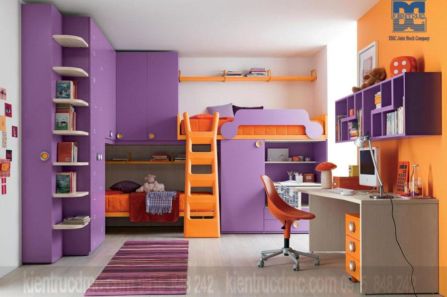 Trang trí nội thất phòng ngủ trẻ em mùa hè với màu sắc vui nhộn