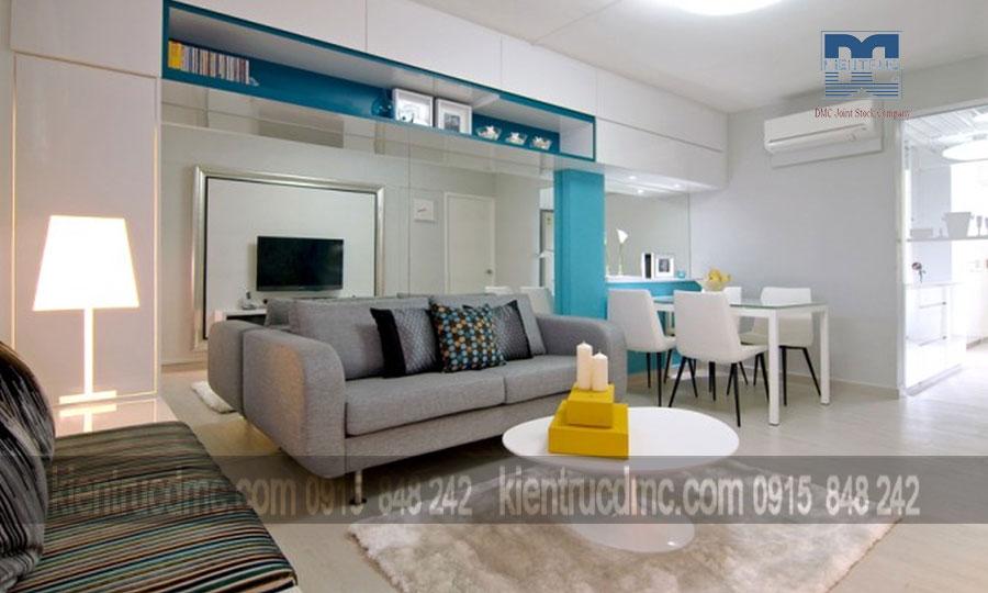 Thiết kế nội thất thông minh gắn kết phòng ăn với phòng khách