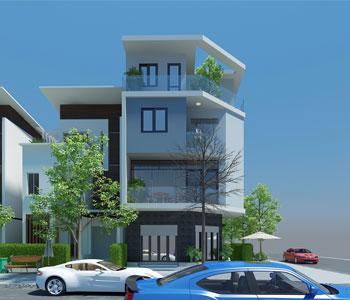 Thiết kế nhà phố 2 mặt tiền căn góc 4 tầng
