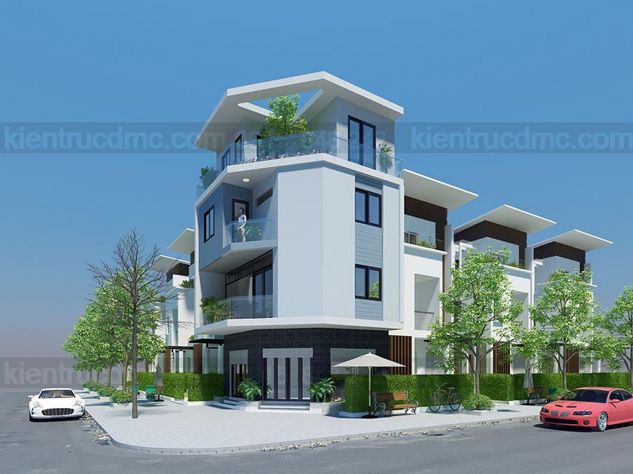 thiết kế nhà phố 2 mặt tiền căn góc 4 tầng: