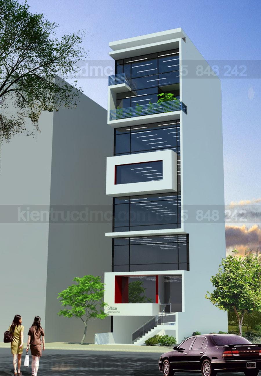 Thiết kế nhà phố 8 tầng làm văn phòng cho thuê