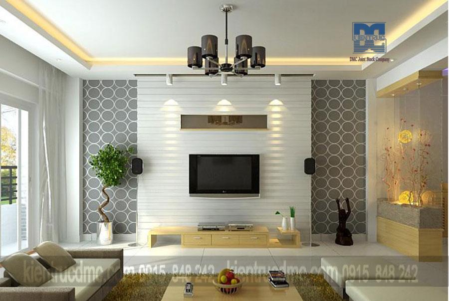 Thiết kế nội thất phòng khách - ti vi điểm nhấn không gian
