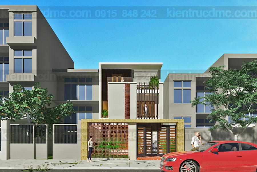 Thiết kế nhà phố mặt tiền 7,5m hướng Tây