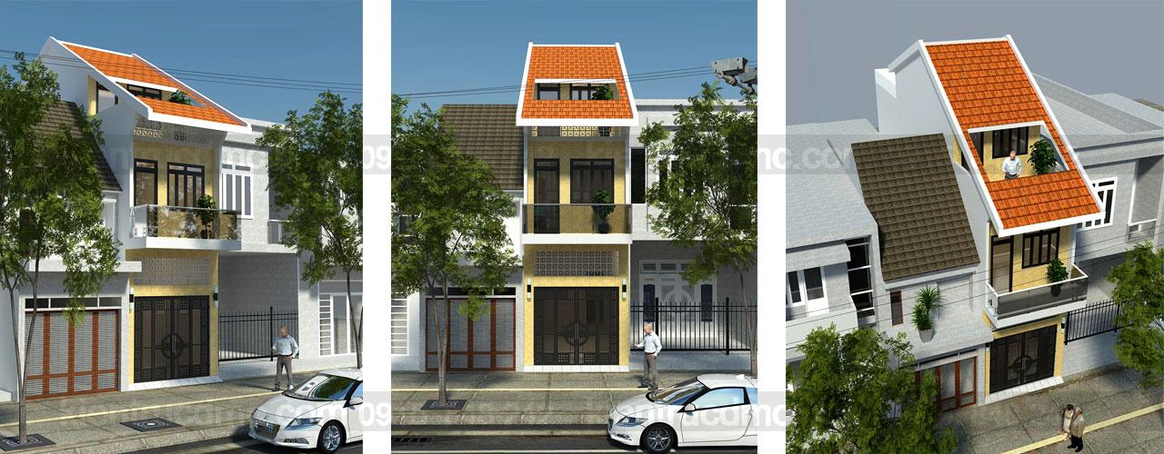 Thiết kế nhà phố mặt tiền hẹp 3m lệch tầng