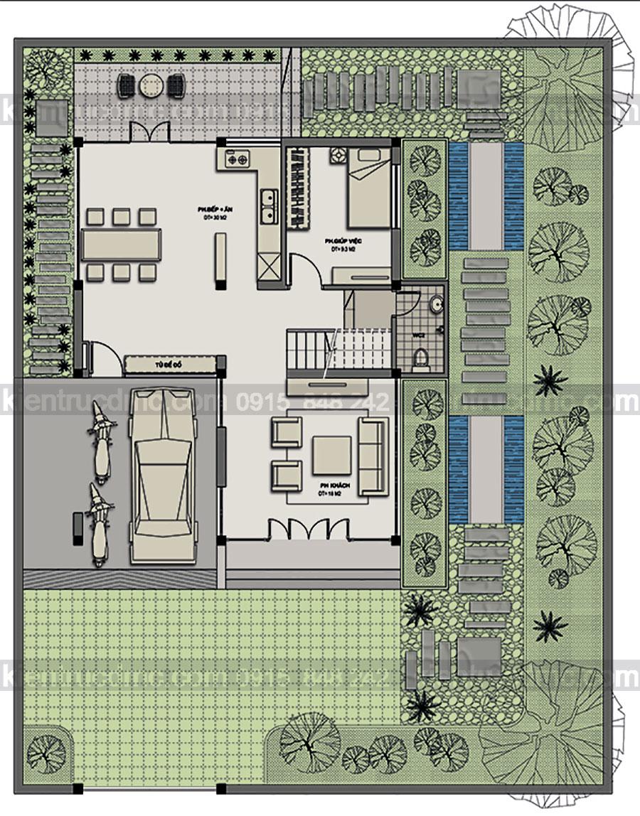 Thiết kế biệt thự nhà vườn 3 tầng hiện đại