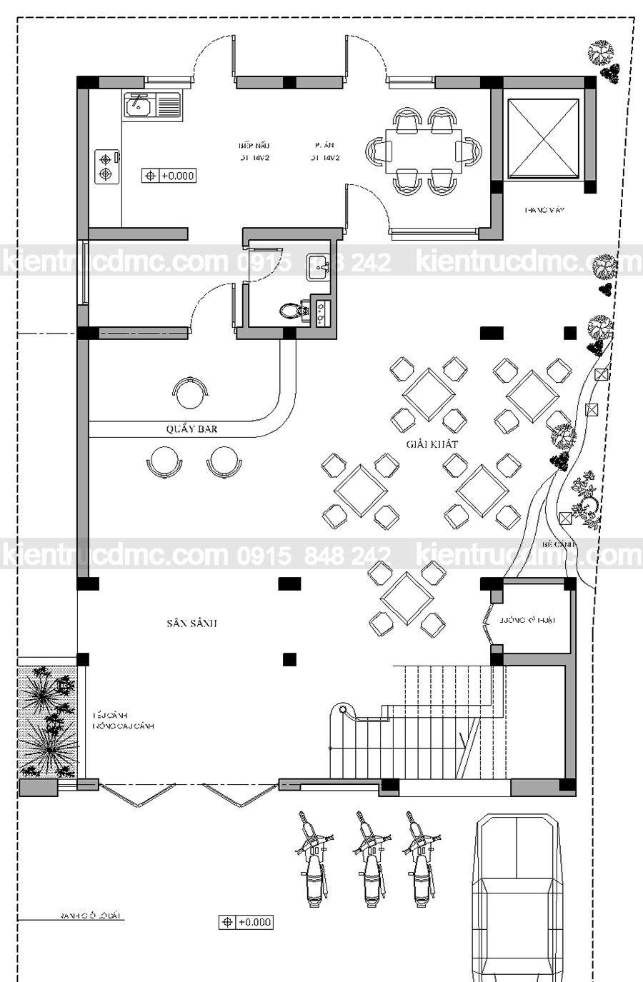 Thiết kế nhà nghỉ 5 tầng ở Sơn Tây