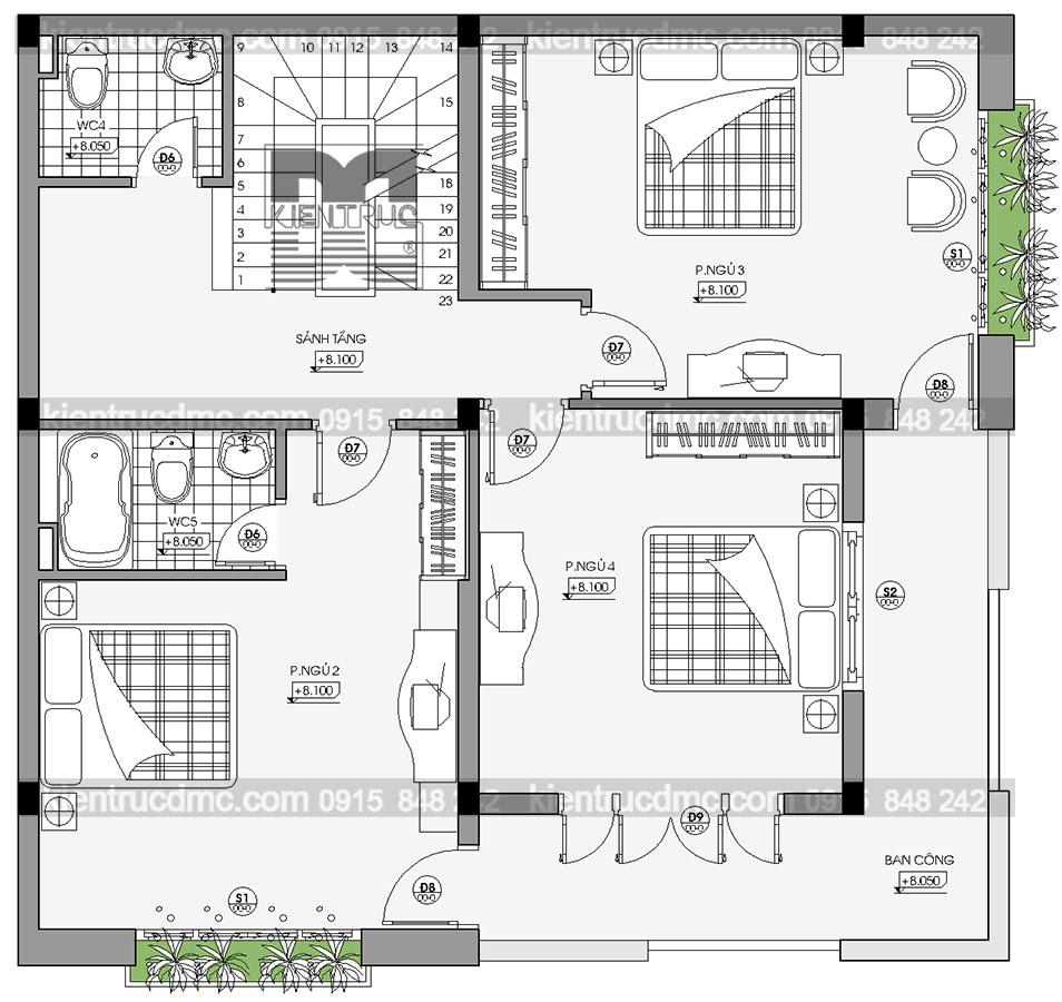 Thiết kế nhà phố kết hợp kinh doanh mặt tiền 8,5m