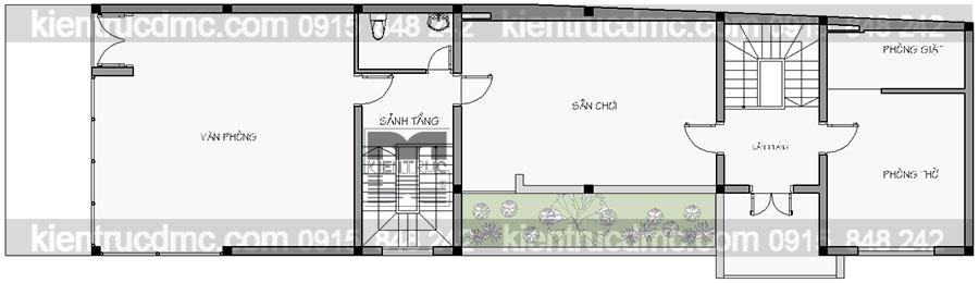 Thiết kế nhà phố 5 tầng kết hợp văn phòng cho thuê
