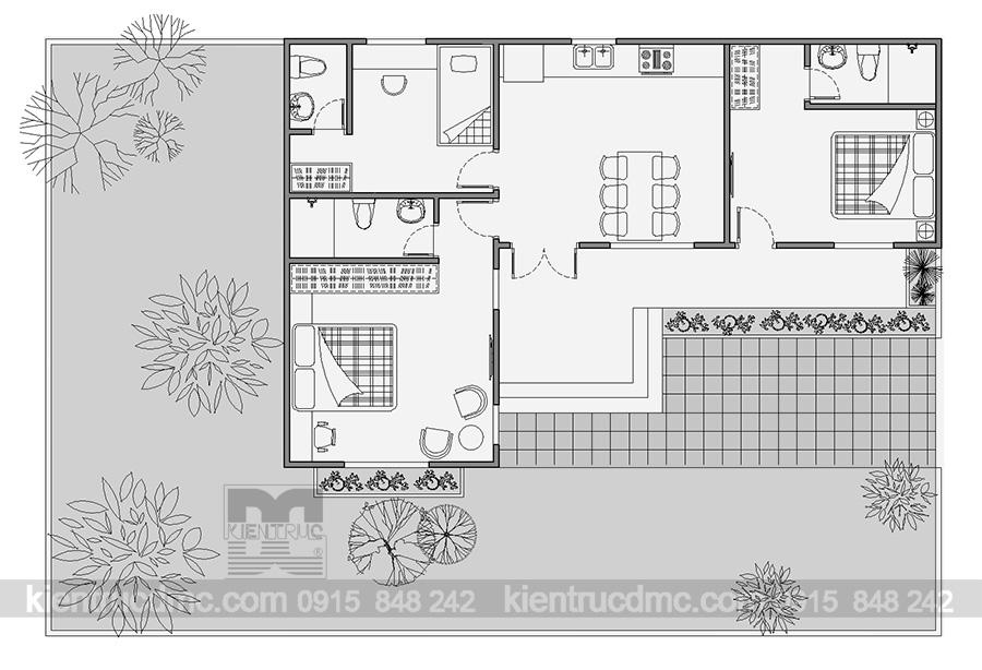 Thiết kế nhà vườn hình chữ L trên diện tích 216m2