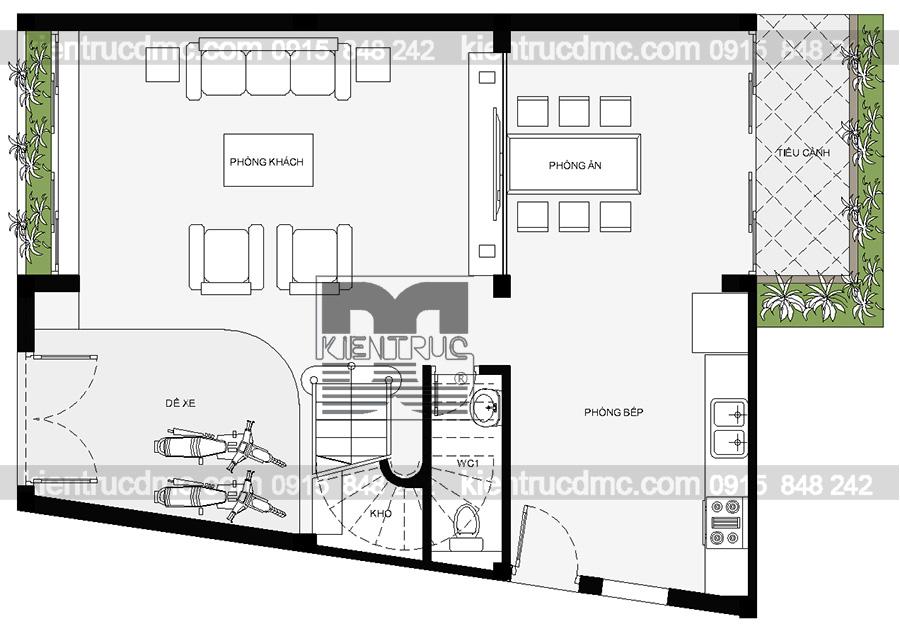 Thiết kế nhà phố 4 tầng 2 mặt tiền diện tích 324m2