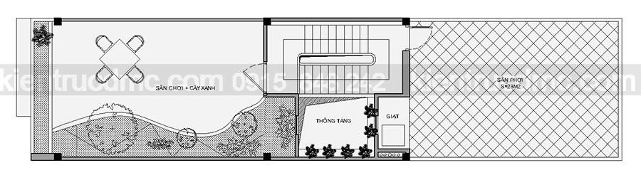 Thiết kế nhà ống 5 tầng mặt tiền 4,5m