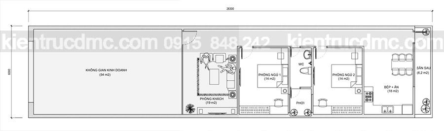 Thiết kế nhà ở kết hợp kinh doanh 1 tầng