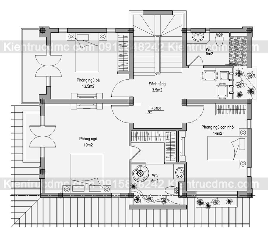 Thiết kế cải tạo biệt thự 3 tầng 223m2