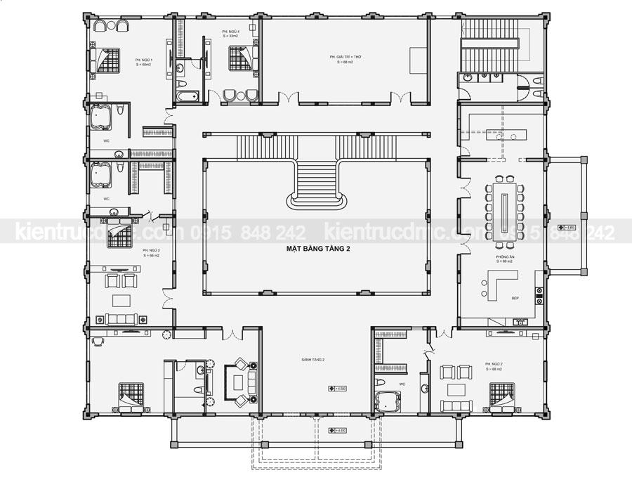 Thiết kế cải tạo dinh thự 2 tầng phong cách tân cổ điển