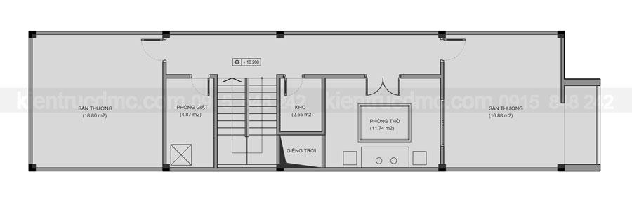 Thiết kế nhà lô phố 4 tầng trên đất 85m2