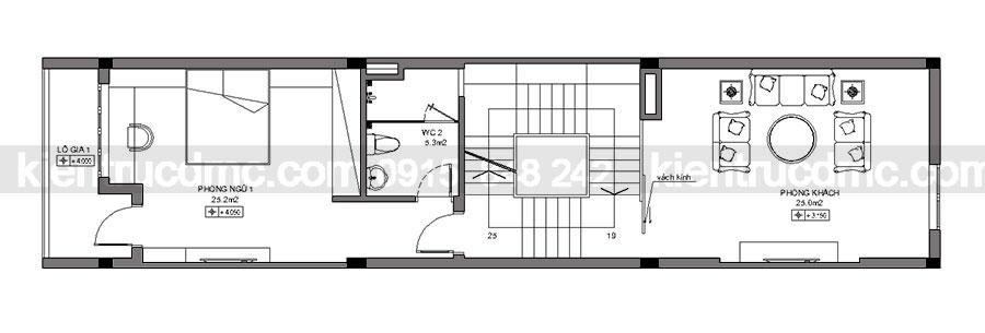 Thiết kế nhà phố 3,5 tầng mặt tiền 4,5m diện tích 81m2