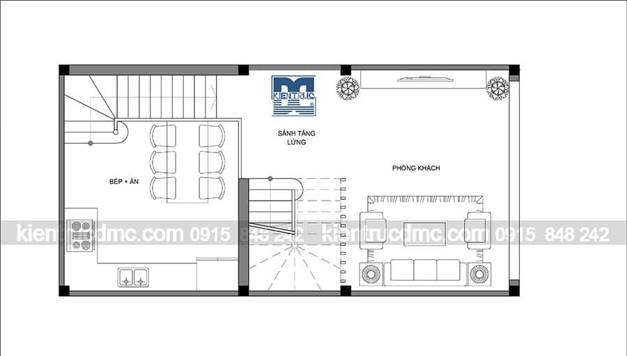 Thiết kế nhà lô phố 4,5 tầng diện tích 50m2
