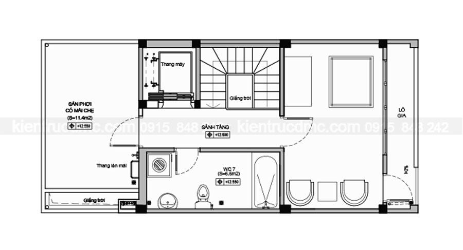 Thiết kế nhà lô phố 5 tầng diện tích 54m2
