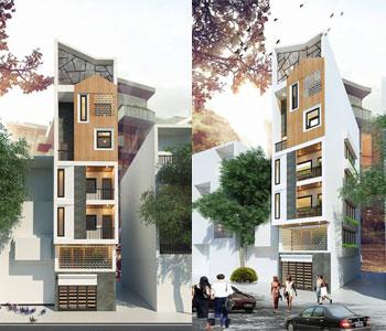 Thiết kế nhà phố 5,5 tầng hai mặt tiền diện tích 54m2