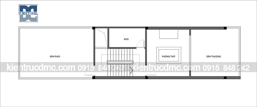 Thiết kế nhà lô phố 4 tầng diện tích 80m2