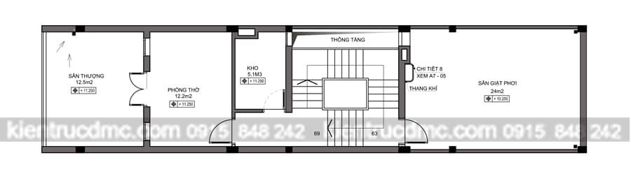 Thiết kế nhà phố lệch tầng diện tích 85m2