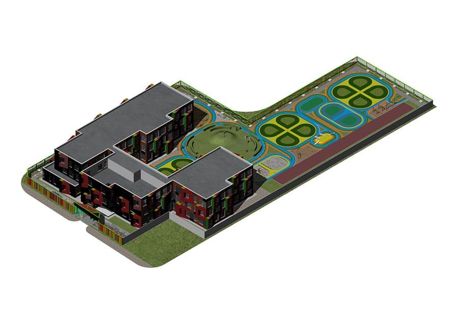 Thiết kế  trường Mầm non với sắc màu vui nhộn