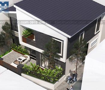 Thiết kế biệt thự nhà vườn 2 tầng mái thái diện tích 110m2