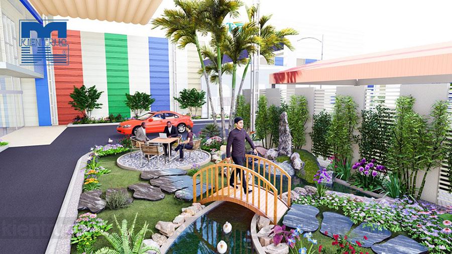Thiết kế ngoại thất và tiểu cảnh sân vườn nhà máy sản xuất Tập đoàn Tonmat
