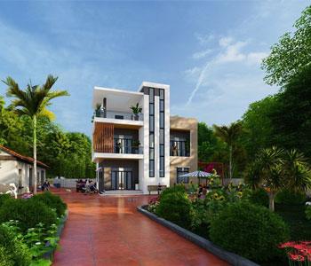 Thiết kế biệt thự 3 tầng phong cách hiện đại trên diện tích 1000m2