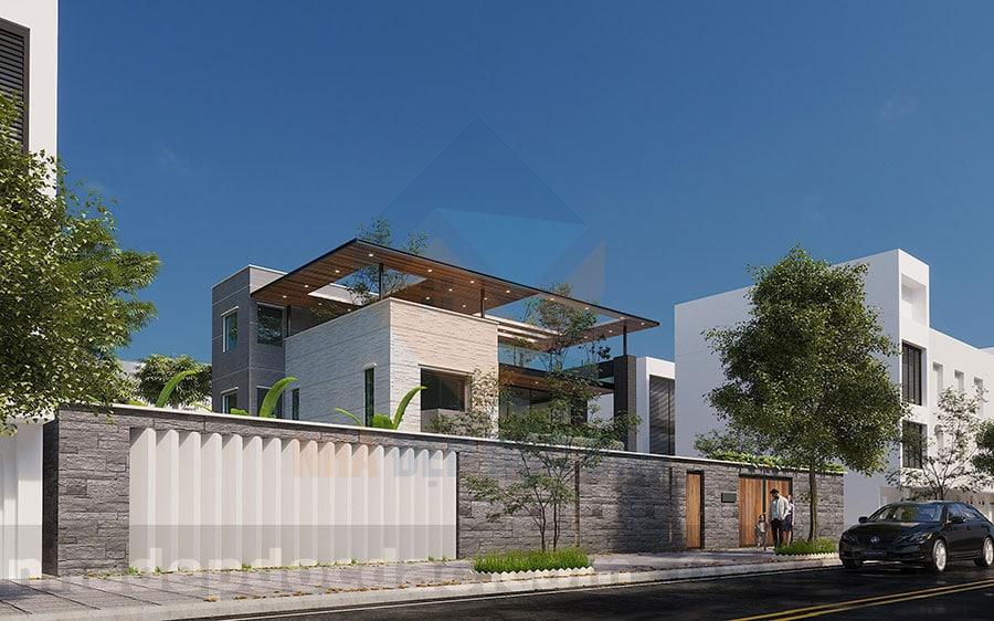 Thiết kế biệt thự phố 2 tầng phong cách hiện đại với không gian xanh
