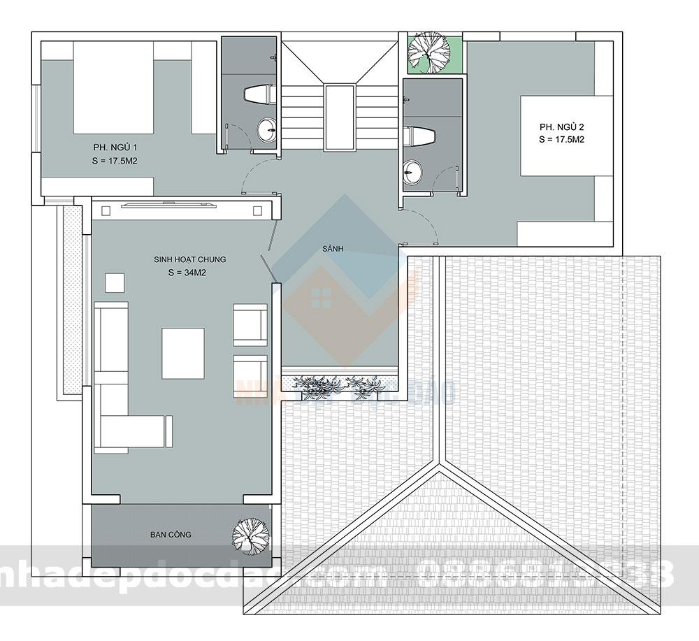 Thiết kế biệt thự 2 tầng phong cách hiện đại trên diện tích 172m2
