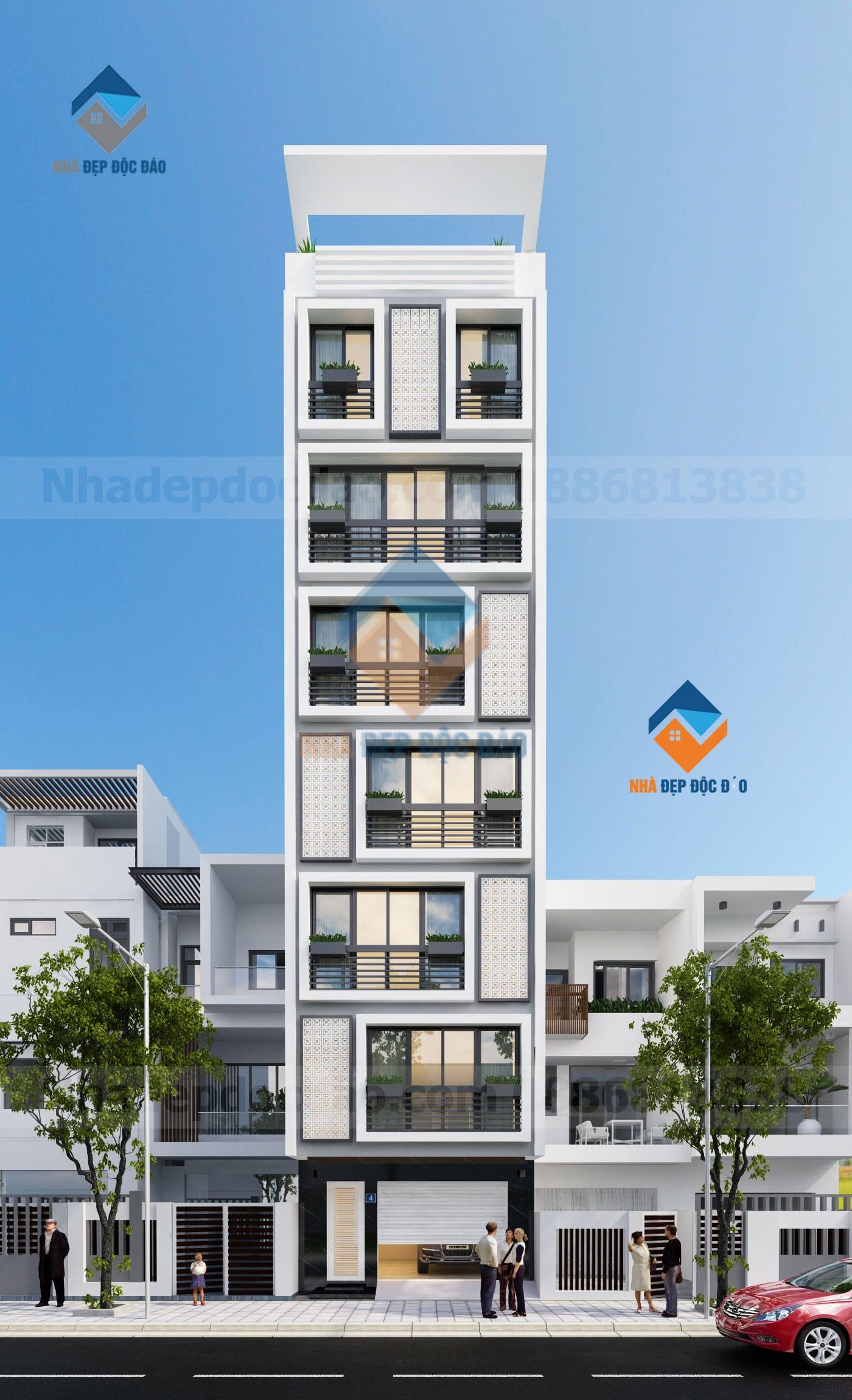 Thiết kế nhà ở kết hợp kinh doanh 7 tầng trên diện tích 85m2
