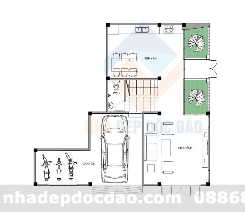 Thiết kế nhà phố 2 tầng 2 mặt tiền diện tích 93m2