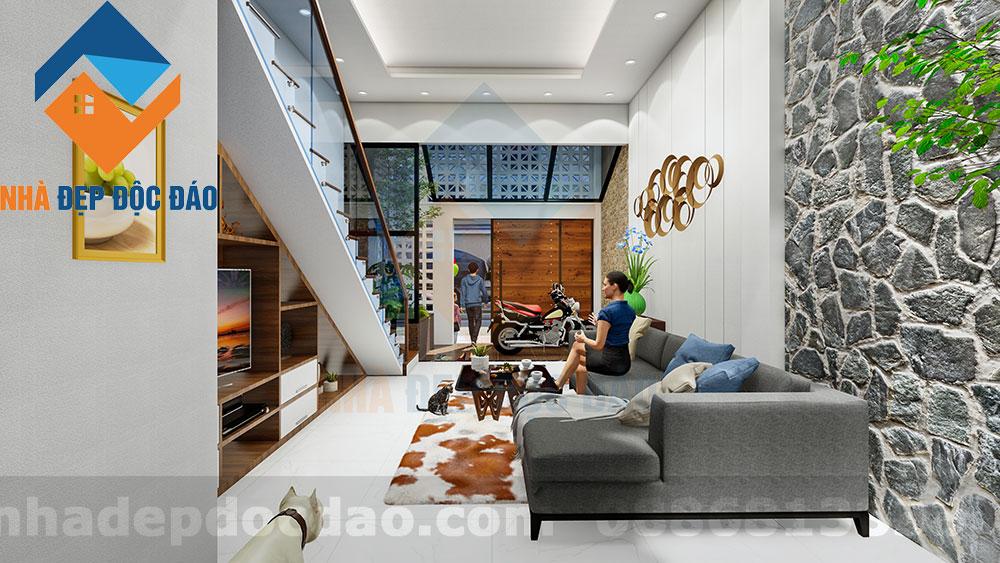 Thiết kế nhà phố 3,5 tầng trên diện tích 63m2 phong cách hiện đại