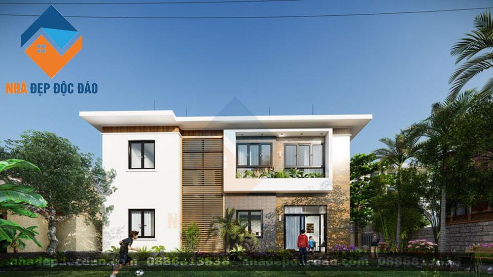 Thiết kế biệt thự 2 tầng phong cách hiện đại trên diện tích 156m2