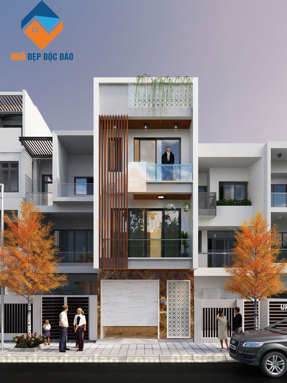 Thiết kế nhà phố 3 tầng mặt tiền 4,5m trên diện tích 60m2
