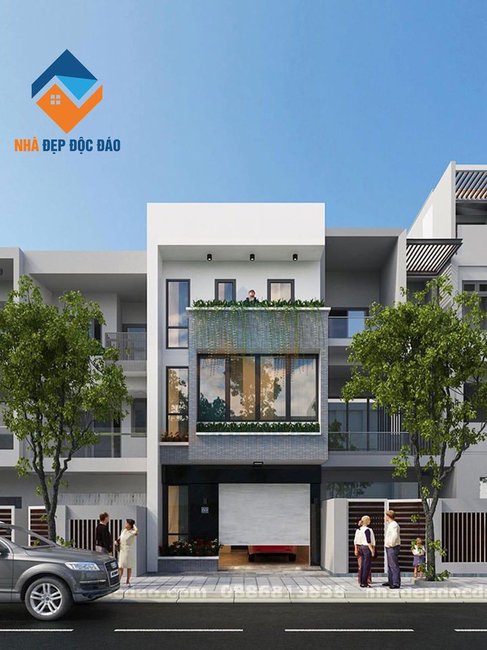 Thiết kế nhà phố phong cách hiện đại diện tích 80m2