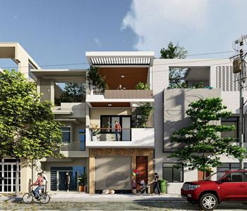 Thiết kế nhà phố diện tích 90m2 phong cách hiện đại