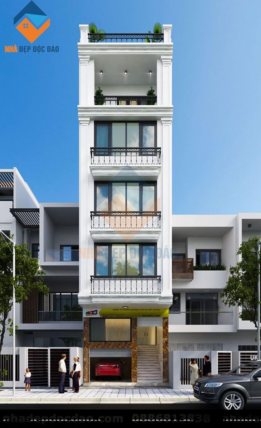 Thiết kế nhà ở kết hợp kinh doanh phong cách tân cổ điển
