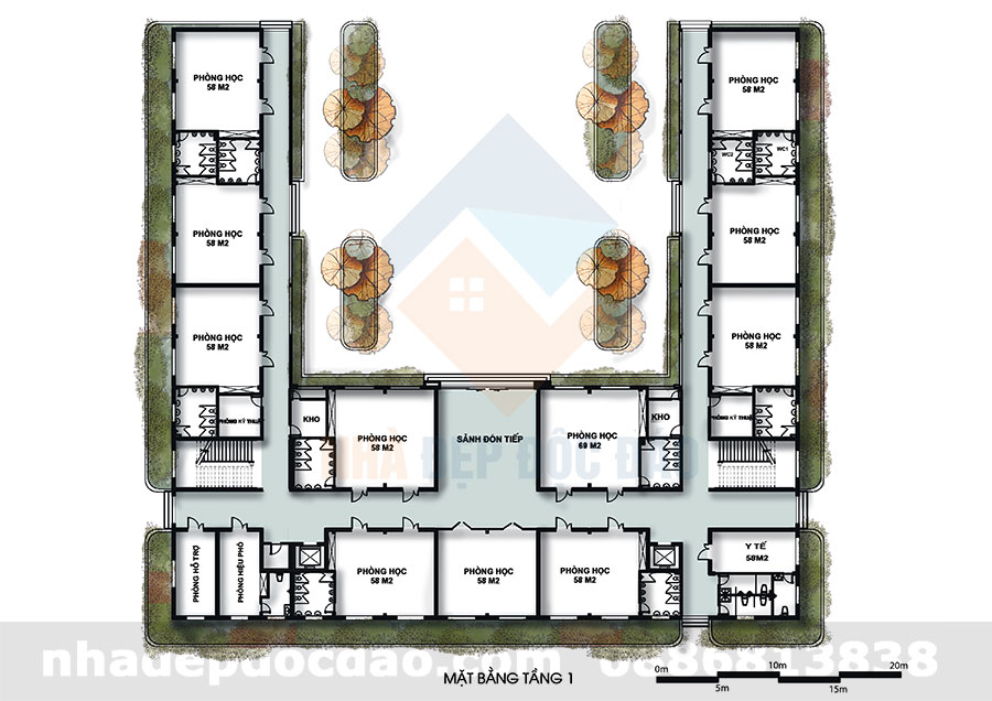 Thiết kế trường mầm non Ban Mai 3 tầng đạt chuẩn