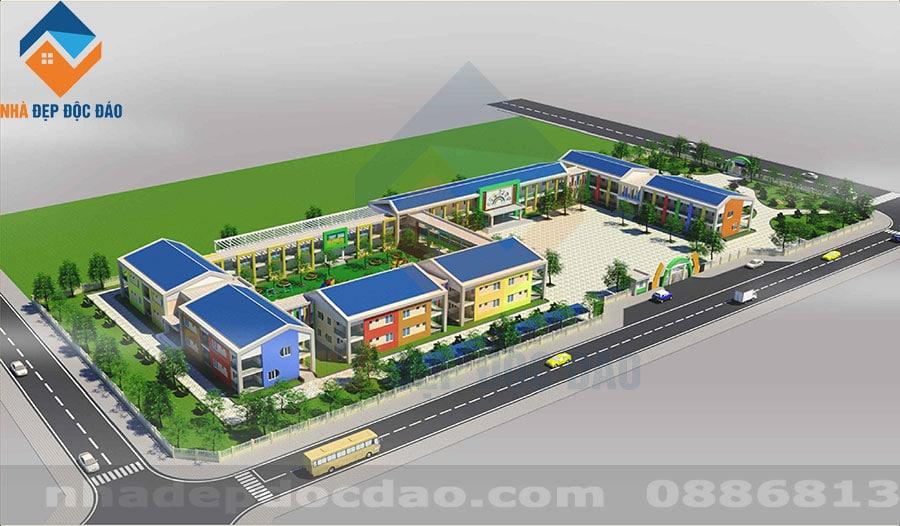Thiết kế Trường Mầm non 2 tầng đạt chuẩn trên diện tích 13985m2