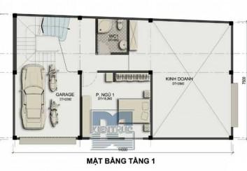 Thiết kế nhà ở kết hợp kinh doanh trên đất hình thang vuông