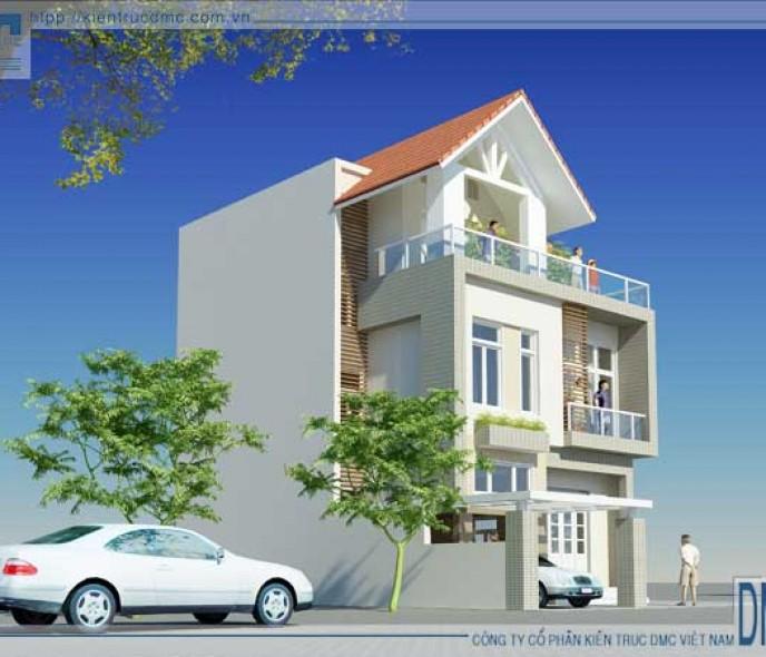 Thiết kế biệt thự phố 3 tầng trên đất 165m2